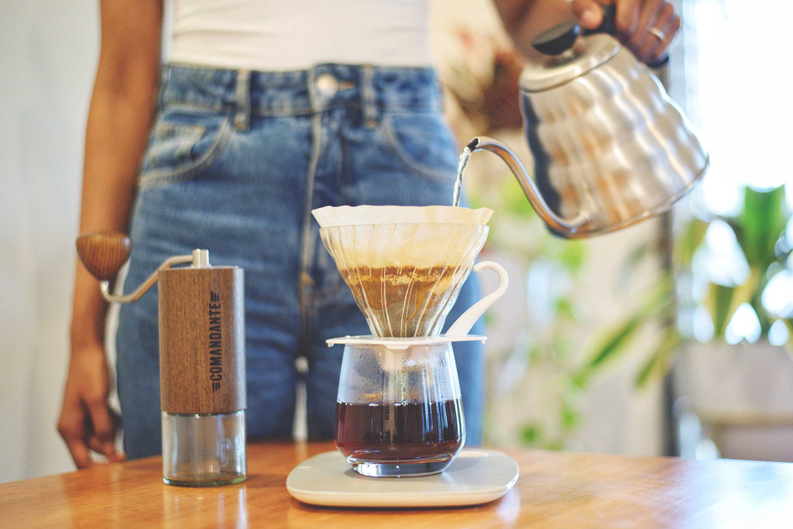 Brewing a V60 pour over coffee